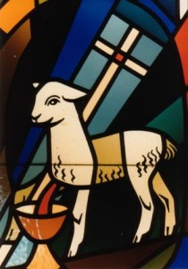 Lamb with vexillum and chalice.