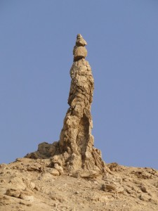 "A naturally occurring ""pillar of salt"" formation found near the Dead Sea"